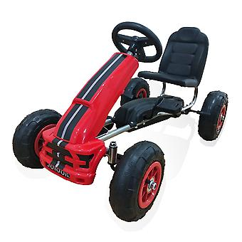 Moni Kids Gokart Nevada Red, Pedal Car, Pneumatici Air, Handbrake da 3 Anni