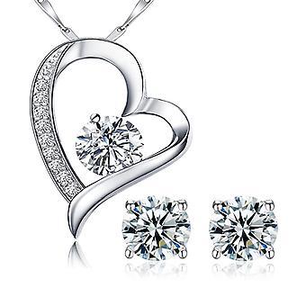 925 Sterling sølv hjerte Solitaire vedhæng halskæde