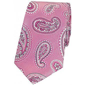 David Van Hagen Paisley Luxury Woven Silk Tie - Pink