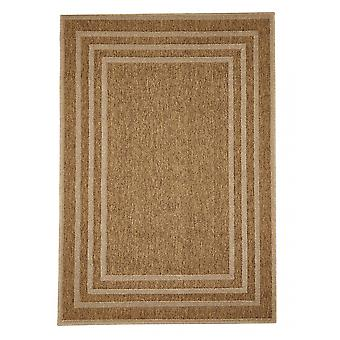 Outdoor-Teppich für Terrasse / Balkon braun beige Natural Border Beige 160 / 230 cm Teppich Indoor / Outdoor - für drinnen und draussen