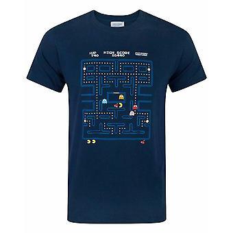 Pacman Classic Action Scene Mens Volwassenen Blue Navy T-Shirt Top