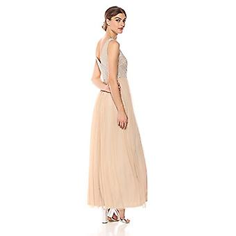 Adrianna Papell Women's Beaded Long Dress with A Full Tulle, Champagne, Size 2.0