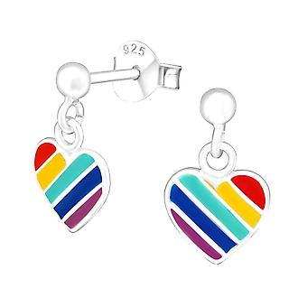 Children's Rainbow Heart Sterling Silver Drop Earrings