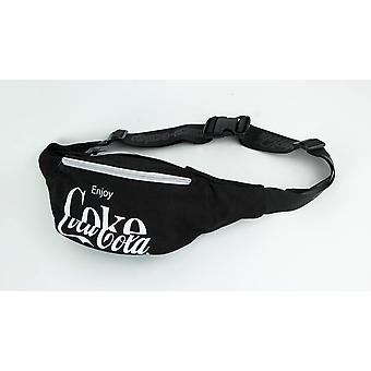 Licensed Coca-Cola Black Polyester Fanny Pack Waist Bag Utility Hip Sling Pouch