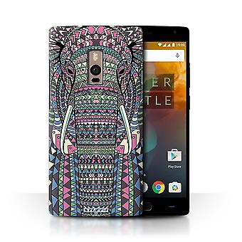 STUFF4 Case/Cover for OnePlus 2/Two/Elephant-Colour/Aztec Animal Design