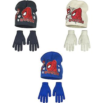 Marvel Ultimate Spider-Man Childrens Boys Profile Hat And Gloves Set