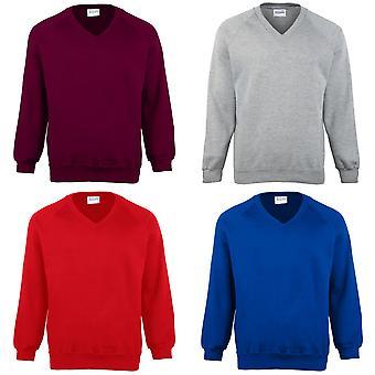 Maddins Childrens Unisex Coloursure V-Neck Sweatshirt / Schoolwear (Pack of 2)