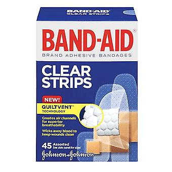 Band-aid bandages clear strips, quiltvent, assorted sizes, 45 ea