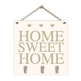 Wooden Home Sweet Home Hanging Plaque With Hooks White & Gold