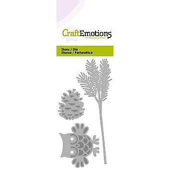 CraftEmotions Die - owl on pine branch Card 5x10cm