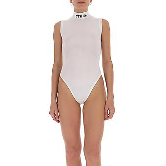 Heron Preston Hwha003r209040070110 Women's White Polyester Bodysuit