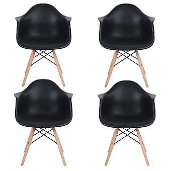 Wood4you - DAW schwarzer Essstuhl - Pariso - Low - Sitzhöhe: 41 cm - 2 Stück