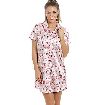 Camille Luxurious Knee Length Pink And Red Floral Print Satin Nightshirt