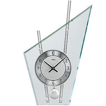 AMS 153 Pöytäkello Kvartsi heiluri hopea moderni metalli lasi