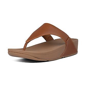 FitFlop Lulu™ läder tå post sandaler i ljus tan