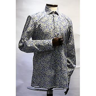 Maggiore Blue With White Daisy Floral Pattern Shirt