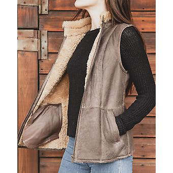 Nordvek Womens Sheepskin Bodywarmer - Aviator Nappa Leather Gilet # 708-100