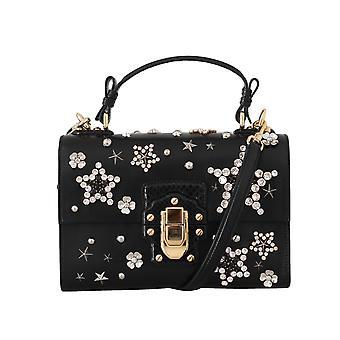 Dolce & Gabbana schwarz Leder Stern Kristall Schulter Lucia Geldbörse VAS15504