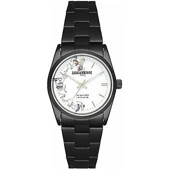 Zadig & Voltaire ZVF415 relógio - relógio aço mostrador preto branco mulher
