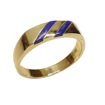 Gold cachet ring with lapis lazuli