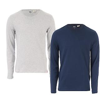 Men's Levis 2 Pack Longsleeve T-Shirts in blu