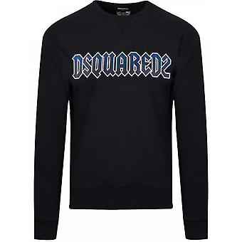 DSQUARED2 Sort og blå logo Crew Neck Sweatshirt