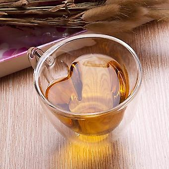 Double Wall Glass Cup Beer Coffee Heart Cups, Heat Resistant Healthy Drink Tea