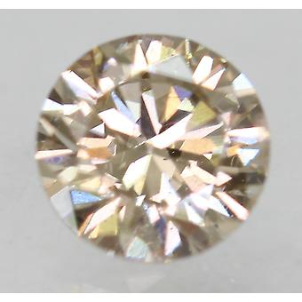 Cert 0.54 Carat Light Brown VVS2 Round Brilliant Enhanced Natural Diamond 5.24mm