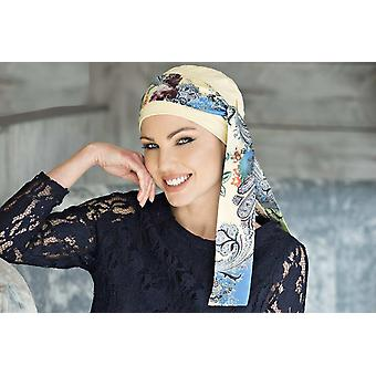 Chemo Cap with Detachable Scarf | Yanna Yellow Royal Blue