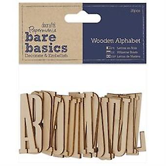 Papermania Bare Basics Houten Alfabet (26pcs) (PMA 174656)