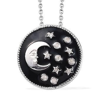 GP Moon en Star White Diamond Hanger Ketting Sterling Silver Blue Sapphire