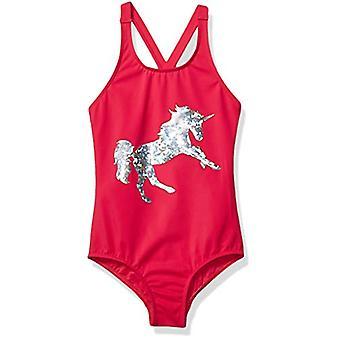 Brand - Spotted Zebra Little Girls' One-Piece Swimsuit, Pink Unicorn, ...