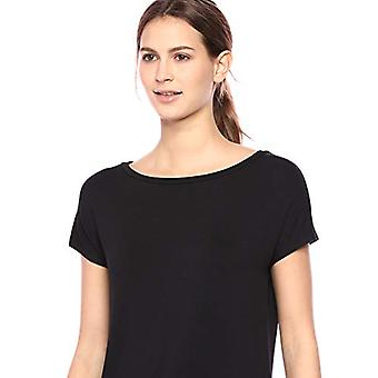 Brand - Daily Ritual Women's Supersoft Terry Dolman-Sleeve Boat-Neck Dress, Black, Small