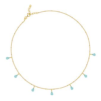 ADEN Gold Plated 925 Sterling Zilveren Apatiet ketting (id 4526)