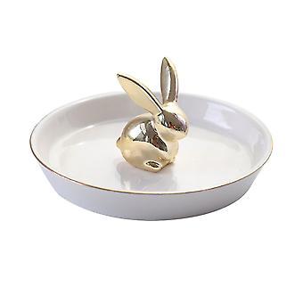 Porte-bague White Ceramic Dish Gold Rabbit Trinket 13.6x6.7cm