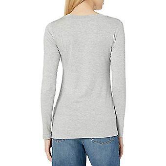 Brand - Daily Ritual Women's Fluid Knit Long-Sleeve V-Neck Shirt, Light Heather Grey, Small