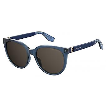 Sunglasses Women's Round Glitter Blue/Grey