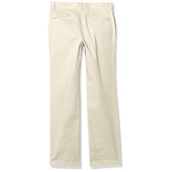 Essentials Boy's Straight Leg Flat Främre Uniform Chino Byxa, Ljus Kha ...