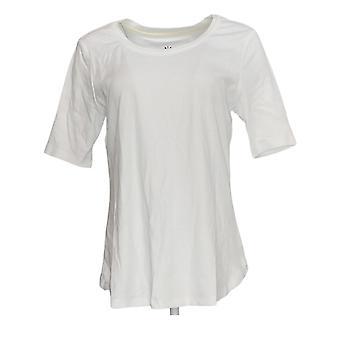 Isaac Mizrahi Live! Women's Top Short Sleeve White
