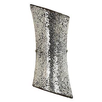 2 Light Indoor Wall Light Satin Nickel with Mosaic Mirror Glass, E14