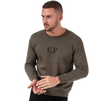 Men's C.P. Company Embroided Logo Crew Neck Sweatshirt in Green