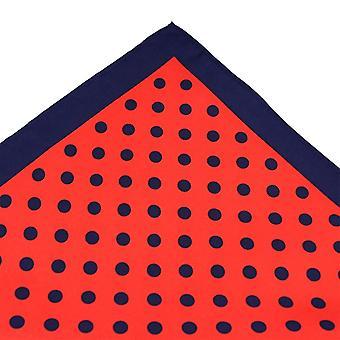 Ties Planet Tresanti Navy Blue & Red Polka Dot Silk Pocket Square Handkerchief