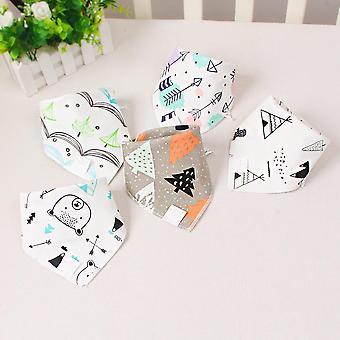 Baby Triangle Double Cotton Bibs, 5 Pieces/lot Cartoon Print Saliva Towel Baby