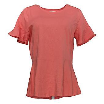 Isaac Mizrahi Live! Women's Top Knit Peplum Short Ruffle Slv Pink A303170