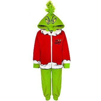 Le Grinch Onesie pour les enfants | Girls & Boys All In One Grinch Pyjamas | Combinaison de nuit en toison à capuchon 3D vert et rouge pour enfants | Ensemble Pj de vêtements de nuit de Noël