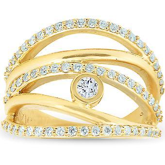 3/4 Ct Diamond Multi Row Diamond Ring 10k GeelGouden Dames rechterhand