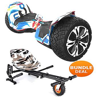 "8.5"" G2 PRO Monster Graffiti All Terrain Bluetooth Segway Hoverboard with a Monster Kart in Camo"