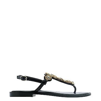 Emanuélle Vee 401m60125shblack Women's Black Leather Flip Flops