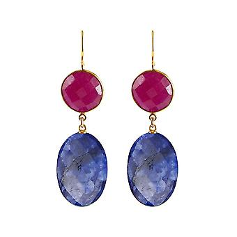 Gemshine earrings blue sapphire ovals, red ruby gemstones 925 silver plated