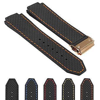 Strapsco dassari s5 pulseira de relógio de borracha de fibra de carbono para hublot big bang com fecho dourado amarelo